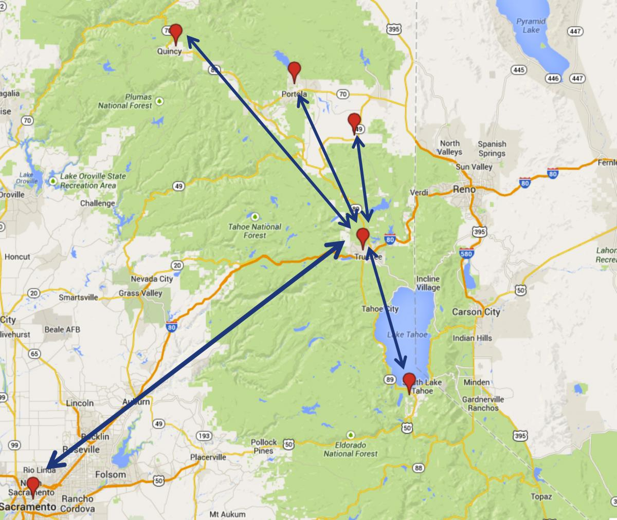 map showing how patients from rural areas can have access to the tahoe forest cancer center